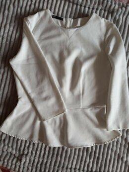 Блузки и кофточки - Блуза/блузка/кофта с баской белая Oodji р.46-48, 0