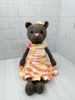 Мягкие игрушки - Кошечка в платье - игрушка ручной работы, 0