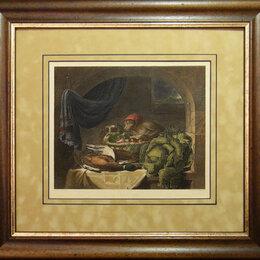 Гравюры, литографии, карты - 1851 год. Натюрморт с обезьянкой в красной…, 0
