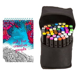 Рисование - Скетчбук + Маркеры для скетчинга 48 цветов художественные двусторонние, 0