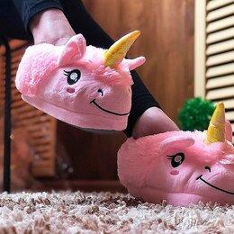 Домашняя обувь - Тапочки Мягкие Розовые в форме Единорожек, 0