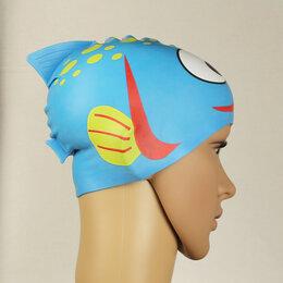 Аксессуары - Новая детская шапочка для плавания рыбка, в чехле, 0