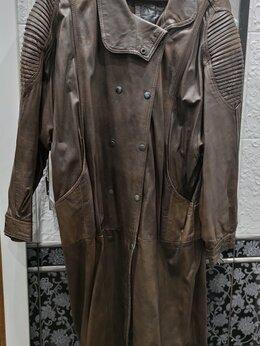 Пальто - Женское винтажное кожаное пальто, 0