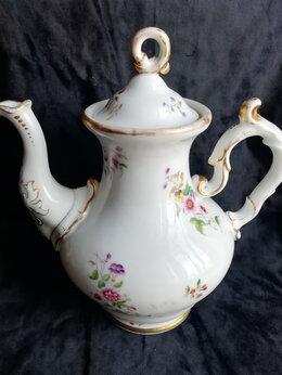 Заварочные чайники - Антикварный высокий фарфоровый чайник, 0