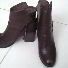 Ботильоны - Ботильоны ботинки коричневые кожаные новые, 0