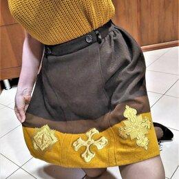 Юбки - 🔴 Max Mara Италия теплая юбка шерсть с золотым шитьем подкладка, 0