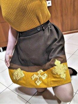 Юбки - 🔴 Max Mara Италия теплая юбка шерсть с золотым…, 0