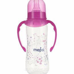 Бутылочки и ниблеры - Бутылочка Mepsi Травы и цветы с ручками 250 мл, розовый, 0