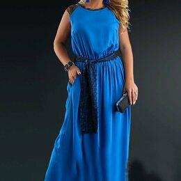 Платья - Длинное штапельное платье с кружевом, 0