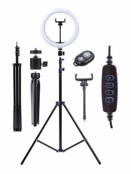 Осветительное оборудование - Кольцевая LED лампа 26см с двумя штативами и…, 0