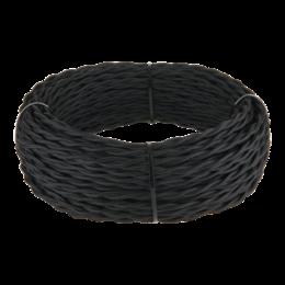 Кабели и разъемы - Ретро кабель витой 3х1,5 (черный) Werkel 50 м W6453508, 0