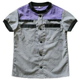 Рубашки - Детская хлопковая рубашка с коротким рукавом, 0