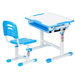Компьютерные и письменные столы - Растущая парта и стул EVO-06 белая, синяя, 0