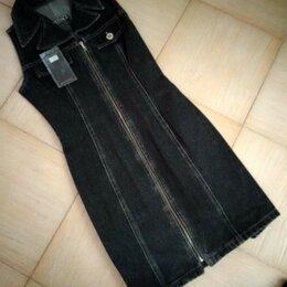 Платья - Новый джинсовый оригинальный сарафан с воротником 28-30 р., 0