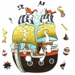 Пазлы - Деревянный пазл Woodlandtoys «Кораблик», деревянная коробка, 112 эл., 0