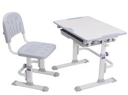 Компьютерные и письменные столы - Парта-трансформер детская со стулом белая с…, 0
