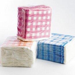 Скатерти и салфетки - Салфетки бумажные 100 шт. рис. Полоски-Клетка(зел+гол+оранж) расцветка в ассорти, 0