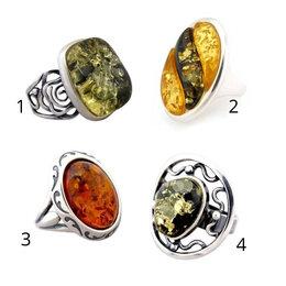 Кольца и перстни - 🎀 Кольцо с натуральным янтарём  в серебре, 0