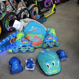 Роликовые коньки - Ролики Jungle Set 2020 с защитой, шлемом,сумкой, 0