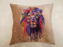 Декоративные подушки - Лев на светлом. Декоративная подушка с машинной…, 0