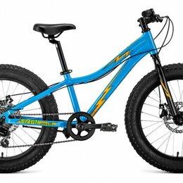 """Велосипеды - Подростковый фэт-байк FORWARD Bizon Micro 20 голубой/оранжевый 11"""" рама (2020), 0"""