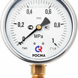 Измерительные инструменты и приборы - Манометр ТМ-520Р.00 (0-10МПа) G1/2.1,0 виброустойчивый «сухой», 0