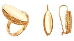 Комплекты - Золотой комплект серьги М14010089 и кольцо КОЮЗ М1, 0