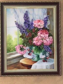 Картины, постеры, гобелены, панно - Картина «Цветы лета» вышивка лентами, 0
