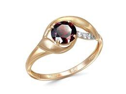 Кольца и перстни - Кольцо с гранатом и 3 фианитами из красного золота, 0