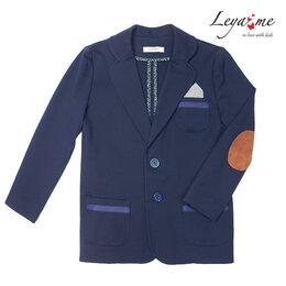 Пиджаки - Синий школьный пиджак с заплатками для мальчика, 0