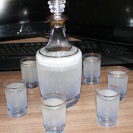 Посуда - Набор графин с рюмками, насыпное стекло, СССР, 0