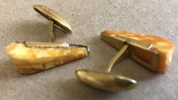 Запонки и зажимы - Винтажные запонки с янтарём, 0