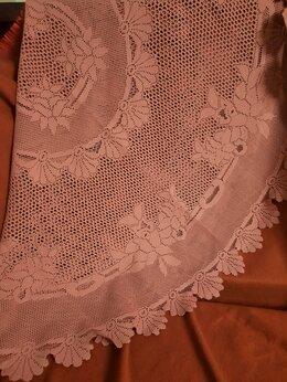 Скатерти и салфетки - Скатерть ажурная  пудрово-розовая, 0