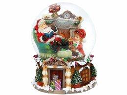 Ёлочные украшения - Снежный шар музыкальный Санта у камина, 16*20 см…, 0