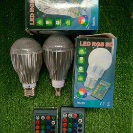 Лампочки - Светодиодная лампа LED RGB с пультом Е27/14, 0