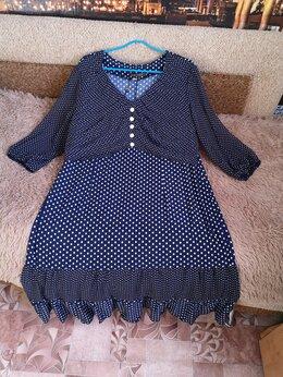 Платья - Платье шифон/трикотаж 56-58 размер новое, 0