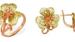 Комплекты - Золотой комплект серьги М14010341 и кольцо КОЮЗ М1, 0