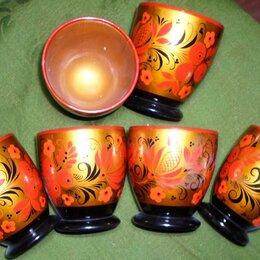 Декоративная посуда - Хохлома, 6 стаканчиков лаковой миниатюры, 0
