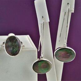 Комплекты - Комплект серебро с натуральным перламутром, оксидированный, 0