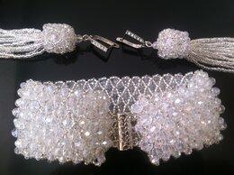 Браслеты - Браслет с серьгами из бисера и кристаллов., 0