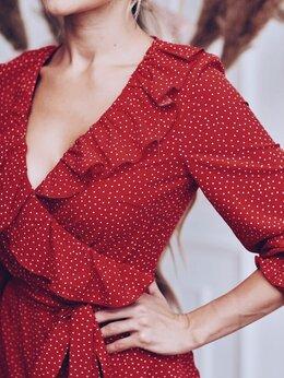 Платья - Красное платье в белый горошек, 0