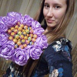 Цветы, букеты, композиции - букет из чупа чупсов и роз из лент, 0