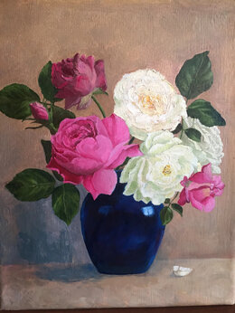 """Картины, постеры, гобелены, панно - Картина """"Розы в синей вазе"""", 0"""