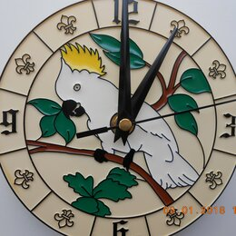 Часы настенные - настенные часы попугай и зайцы, 0