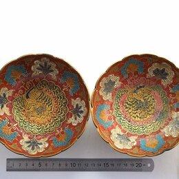 Декоративная посуда - Вазы плоские 2 шт. (Индия) - ручная работа, бронза, эмаль, 0