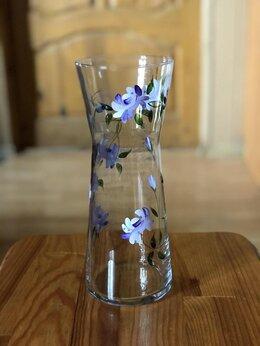 Вазы - Ваза для цветов стекло с росписью, 0