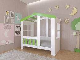 Кровати - Детская кровать-домик Астра белый-салатовый 9…, 0