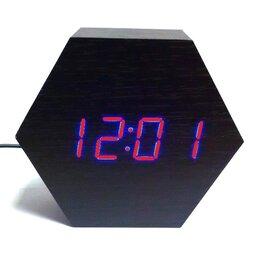 """Часы настольные и каминные - """"Деревянные часы"""" VST-876-1 красные цифры, 0"""
