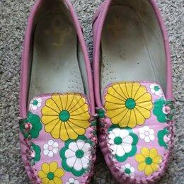 Балетки, туфли - Розовые мокасины для девочки, 0