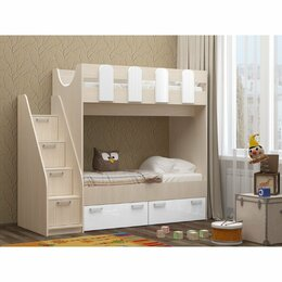 Кроватки - Двухярусная детская кровать с лестницей-комодом, 0